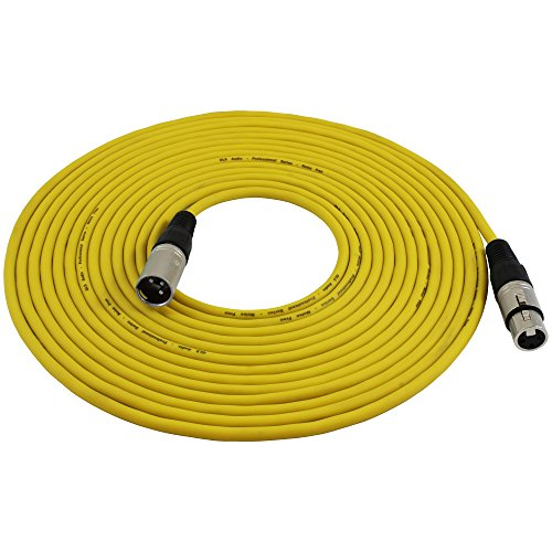 GLS Audio 25ft Mic Cable Patch Cords - XLR Male to XLR Female Yellow Microphone Cables - 25
