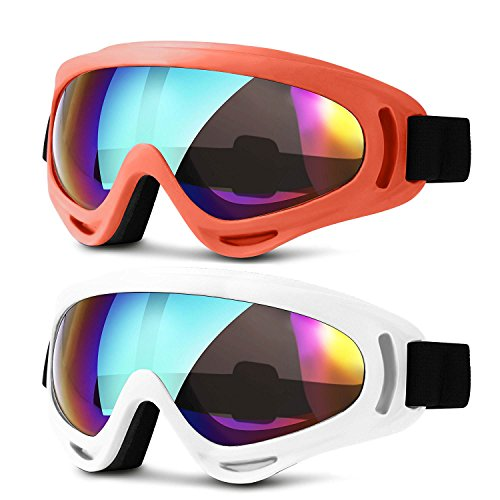 Ski Goggles, Updated Snowboard Goggles for Kids Men Women Boys & Girls UV 400 Protection Windproof Anti-Glare Goggles for Skiing Snowmobile Motorcycle Bicycle, Heeta (orange & - Or Sunglasses Skiing For Goggles