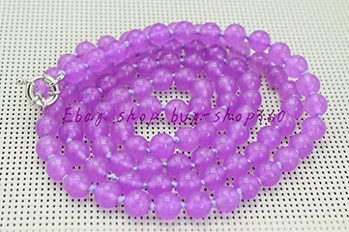 Beautiful Jade Pendant Purple (FidgetGear Beautiful Natural 8mm Round Purple Jade Gemstone Necklace 36