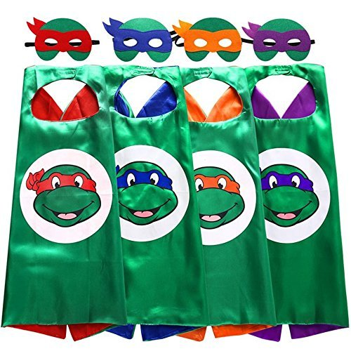 TMNT Cartoon Costume for Kids x 4 Thermal Pransfer Satin Cape with Felt Mask