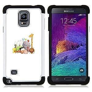 "Hypernova Híbrido Heavy Duty armadura cubierta silicona prueba golpes Funda caso resistente Para Samsung Galaxy Note 4 IV / SM-N910 [Animales Blancos Jirafa Zoo Kids""]"