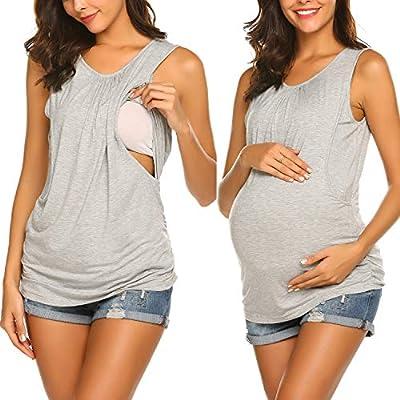 Ekouaer Women's Maternity Nursing Top Breastfeeding Tank Top Tee Shirt Double Layer Sleeveless Pregnancy Shirt