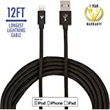 vCharged Black 12 FT Longest Lightning Cable Nylon Braided USB Charging Cable Cord for iPhone & iPad - Long iPhone Charger w/12 Month Warranty