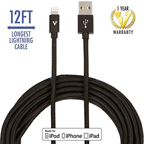 vCharged Black 12 FT Longest Lightning Cable Nylon Braided U