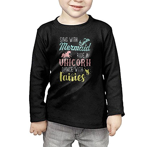 (HTTQ Mermaid Unicorn Faires Kids Children Unisex Long Sleeve Cotton Crew Neck T-Shirt Tee 4)
