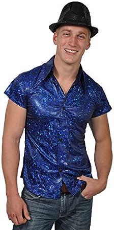 Camisa Azul Brillante Señor Camisa Disco Camisa: Amazon.es: Juguetes y juegos