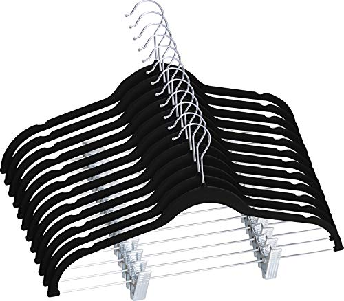 Utopia Home Velvet Skirt Hangers with Clips 12 Pack - Non Slip Velvet Clothes Hangers with Notches for Pants and Coat - Slim and Heavy Duty with 360 Degree Swivel Hook - Black ()