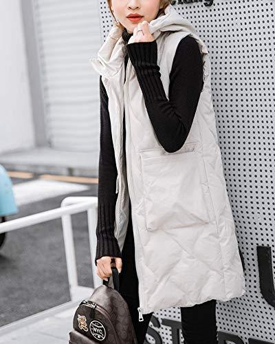 Coat Gilet Vest Womens Loose Padded Long Quilted White Sleeveless Jacket GladiolusA Hooded vtq11x
