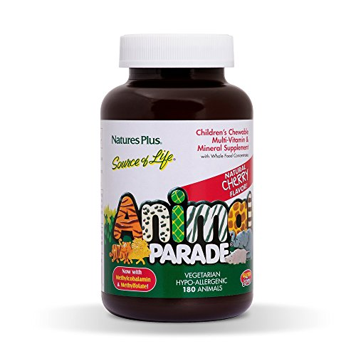 - Natures Plus Animal Parade Source of Life Childrens Chewable Multivitamin - Natural Cherry Flavor - 180 Animal Shaped Tablets - Vegetarian, Gluten Free - 90 Servings