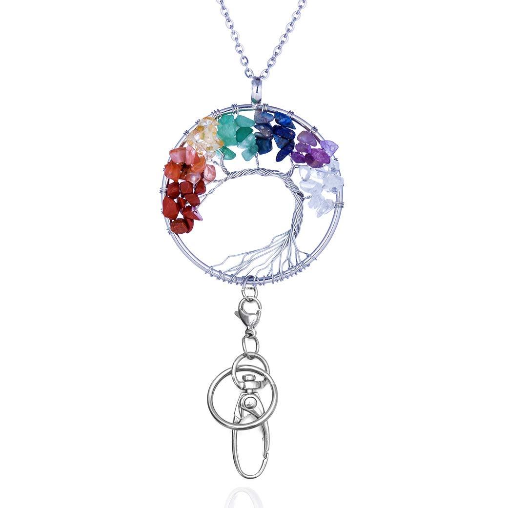 Tree of Life Pendant Necklace Badge Holder Stainless Steel ID Holder Handmade Lanyard for Women T49