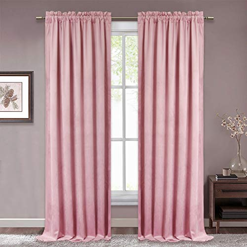RYB HOME Pink Velvet Curtains - Soft and Smooth Window Curtain Set Sunlight Block Thermal Insulated Drapes for Bedroom Sound Dampening for Studio/Nursery, Wide 52