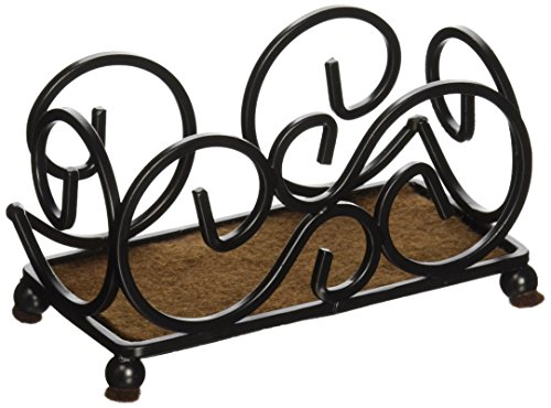 Thirstystone Dark Iron Upright Scroll Coaster Holder, Dark Walnut