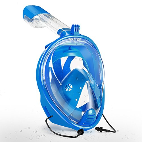 ZSPORT Snorkeling Mask, Easybreath Full Face Diving Mask GoPro Compatible,See More Larger Viewing Area Than Traditional Masks Anti-Fog Anti-Leak Technology (Blue, L/XL)