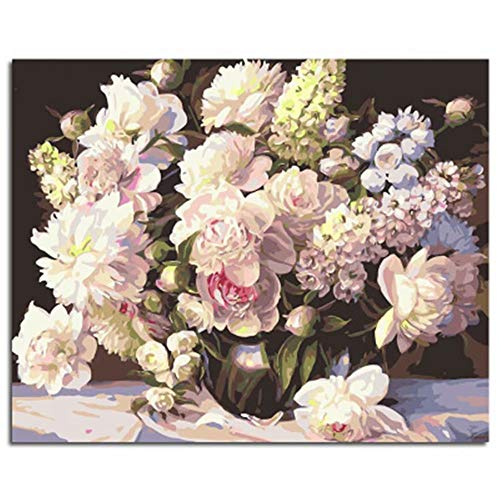 DIY Oil Painting Newsight Paintworks Paint by Number for Kids and Adults (Flower Vintage Vase) ()