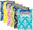 6 Pk, BAZIC Standard Size Damask Paperboard Clipboard w/ Low Profile Clip (Colors May Vary)