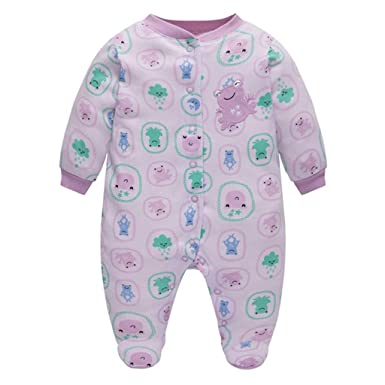 6-9 Mnth Baby Girl 100/% Cotton Sleepuits Overall Long Sleeve Print Pink 0-3