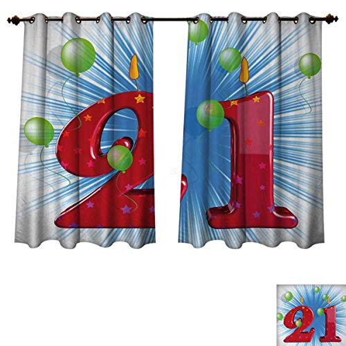 Anzhouqux 21st Birthday Blackout Thermal Backed Curtains for Living Room Blue and White Colored Abstract Backdrop with The Party Balloons Customized Curtains Light Green and Red W52 x L63 -
