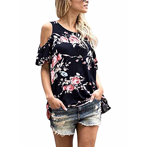 Women's Floral Print Cut Out Shoulder Short Sleeve T Shirt Blouse (M, Black) Floral Print Cut Out