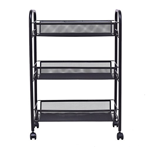 Allbest2you 3 Tier Cart Mesh Rolling Storage Basket Multifunction Removable Shelf Kitchen Home Office Utility - Wire Removable Basket