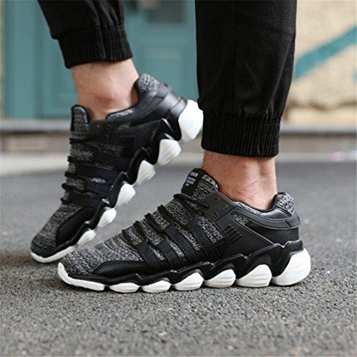 KuBua Herren Laufschuhe Indoor und Outdoor Sport Athletic Fitness Fashion Sneaker Casual Weiß Schwarz Ein Grau