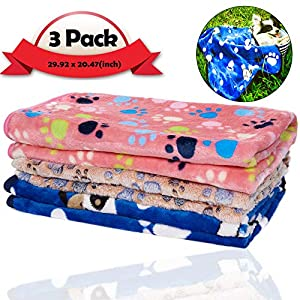 iNNEXT 3 Pack Puppy Blanket for Pet Cushion Small Dog Cat Bed Soft Warm Sleep Mat, Pet Dog Cat Puppy Kitten Soft Blanket Doggy Warm Bed Mat Paw Print
