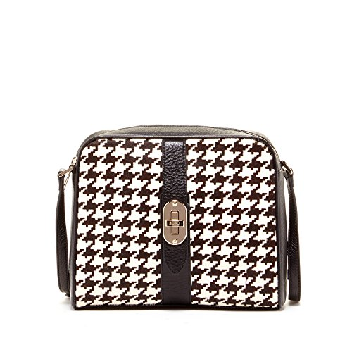6db9615dbf1 SUSU The Baxter Leather Crossbody Bags for Women Houndstooth Cross body  Purse Black White Shoulder Bag with Gold Hardware Purses Medium Size  Designer ...