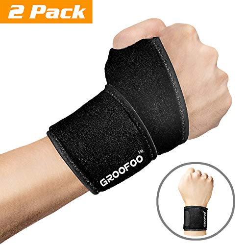 GROOFOO Adjustable Wrist Brace, set of 2, Breathable Wrist Wrap with Thumb Loop for Men & Women, Reversible Wrist Support for Weightlifting, Crossfit, Strength Training, Gym Workout, Badminton, Tennis