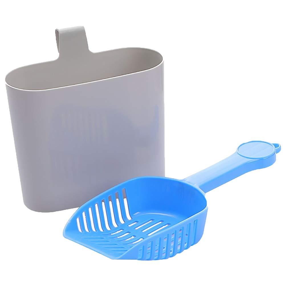 bluee Premium Cat Litter Scoop Kit, Pet Cleaning Supplies Cat Plastic Litter Scoop with Hook Pet Sand Shovel Cleaning Tool,bluee