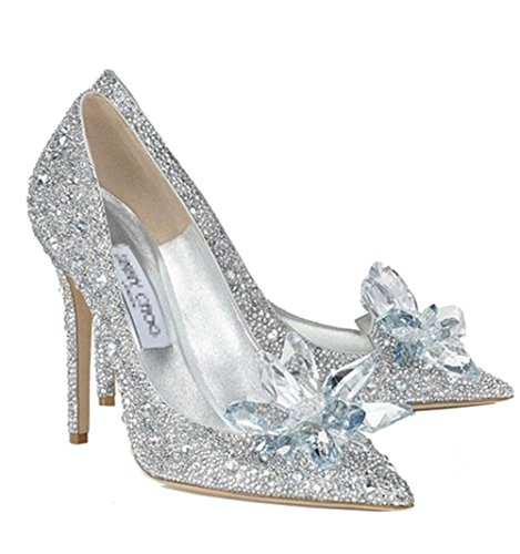 Cinderella Glass Shoes High Heel Fancy Fashion Cosplay Glass Slipper E
