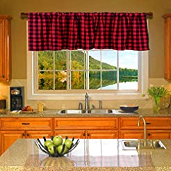 HTFD Black and Red Buffalo Check Valance...