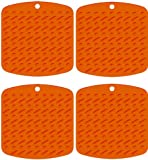 Silicone Pot Holder, Trivet and Garlic Peeler (Set of 4, Orange) Hot Pads Trivet Mats – Non Slip, Flexible, Durable, Heat Resistant, Essential Kitchen Cooking and Baking Gadget – Dishwasher Safe, Appliances for Home