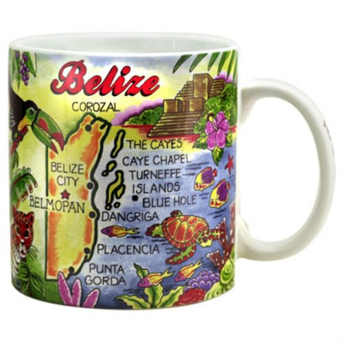 Belize Map Caribbean Souvenir Collectible Large Coffee Mug (4