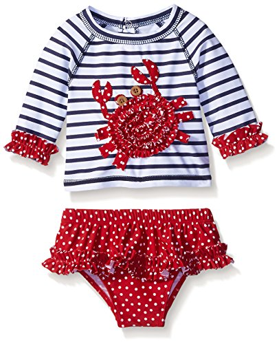 Mud Pie Crab Rash Guard Bikini, Multi, 0-6 Months (Baby Girl Swimsuit Mud Pie compare prices)