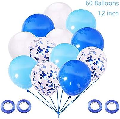 Juland 60 Piezas Látex Globos Azules Confeti Azul Globos de ...
