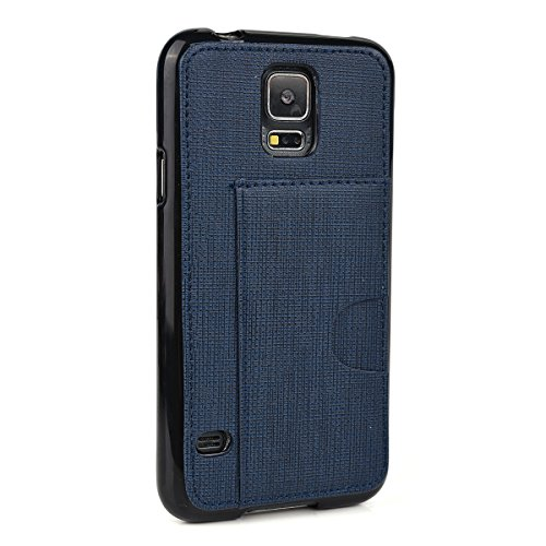 - Kroo Cell Phone Case with Card Holder for Samsung Galaxy S5 - Non-Retail Packaging - Navy Blue