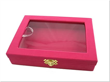 Amazoncom Glass Top Lid Fuchsia Velvet Utility Jewelry Display Box
