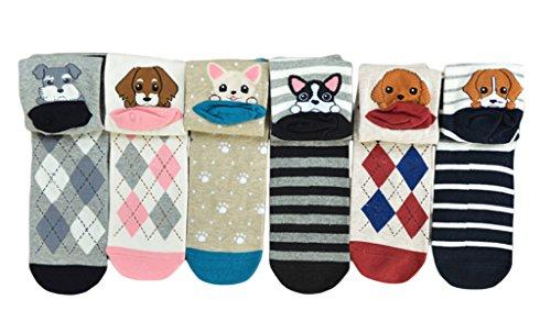 Woo2u Women Puppy Tender Cartoon Winter Ankle Socks 5 Pairs Mix by Woo2u