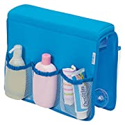 mDesign Over Bathtub Storage Organizer for Baby/Kids' Toys, Shampoo, Soap - Neoprene/Mesh, Blue