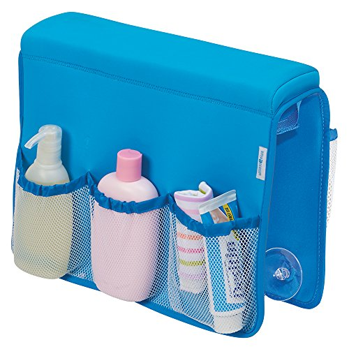 mDesign Over Bathtub Storage Organizer for Baby/Kids' Toys, Shampoo, Soap - Neoprene/Mesh, Blue from MetroDecor