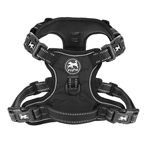 - PoyPet 2019 Upgraded No Pull Dog Harness with 4 Snap Buckles, 3M Reflective with Front & Back 2 Leash Hooks and an Easy Control Handle [NO Need Go Over Dog's Head] (Black,M)
