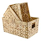 World Backyard Hyacinth Storage Baskets with Handles, Nature Water Plant Handwoven Rectangular Container Boxes for Home Organization or Decor, Nested Set of 3.