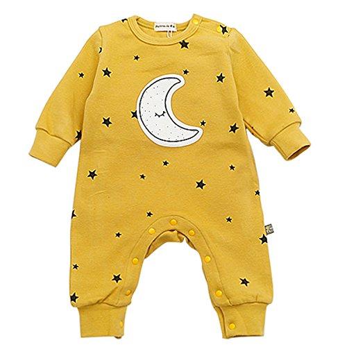 Bebone babypakje jongens meisjes jumpsuit ster en maan babykleertjes (Geel, 3-6 maanden/73)