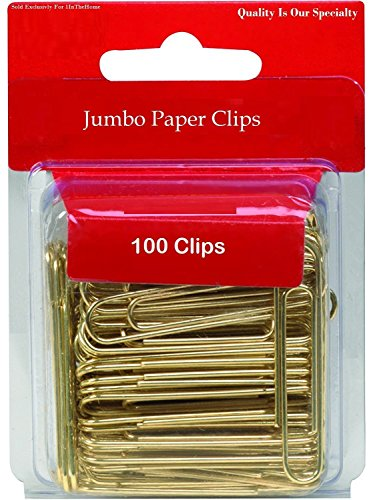 1InTheOffice Jumbo Paper Clips, Gold, Smooth, 100/Pack