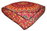 ANJANIYA 35''x35'' Mandala Bohemian Yoga Meditation Large Square Dog Bed Outdoor Floor Pillow Cover Couch Seating Cushion Throw Hippie Decorative Boho Indian Ottoman (Red)