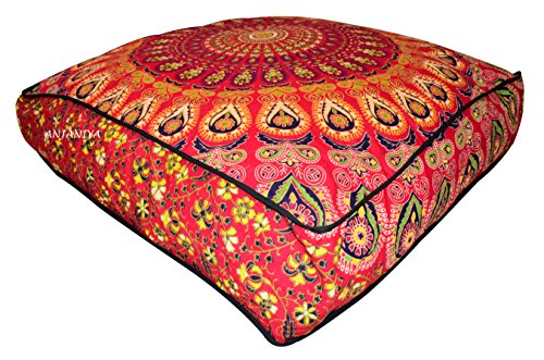 ANJANIYA 35''x35'' Mandala Bohemian Yoga Meditation Large Square Dog Bed Outdoor Floor Pillow Cover Couch Seating Cushion Throw Hippie Decorative Boho Indian Ottoman (Red) by ANJANIYA