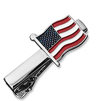 Tie Bar Clip, Skinny Narrow and Wide - Gift Boxed by Puentes Denver (1.5 Inch American Flag)