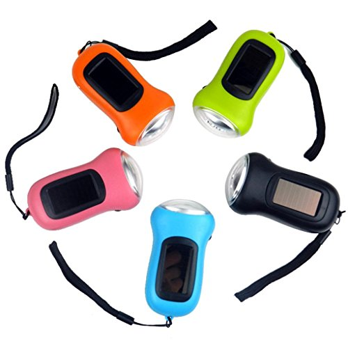 - 3LED Hand Crank Dynamo+Solar Power Rechargeable for Carabiner Camping Flashlight