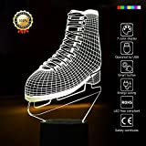 Ice Skating 3D Night Light Ice Skates 3D Led Optical Illusion 7 Colors Change Night Light Touch Button Creative Design Decorative Lighting Effect Lamp (Ice Skate)