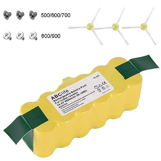 ABClife 14.4V 4500mAh Batería de Repuesto para Aspirador iRobot Roomba 500 600 700 800 900 Serie + Kit de Reemplazo 3 Cepillos Laterales y 6 Tornillos: ...