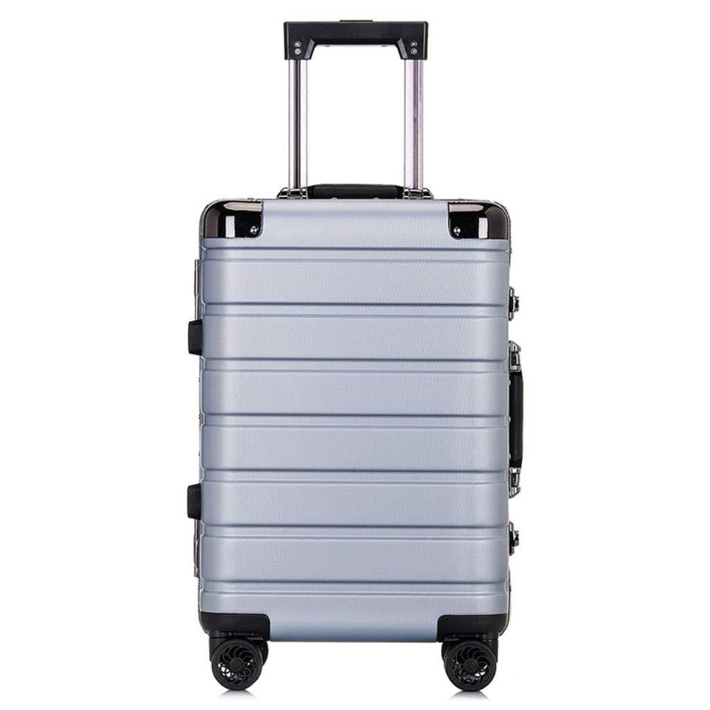 トロリーボックスカスタムPcのアルミフレームユニバーサルホイール荷物の男性と女性のビジネスパスワード20インチの屋外旅行の搭乗 (Color : ライトグレー, Size : 24 inches.)   B07QYMH1LT